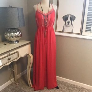 Lily Rose- Coral Maxi Dress- Juniors Small- New